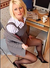 milf stockings, Saleswoman Erin In Business Suit And Sheer Black Pantyhose