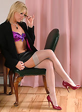 Sexy Charlene in hot red stilettos and stockings