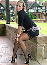 stiletto high heels, Melanie is outdoors showing off her nylon covered legs and sexy high heels
