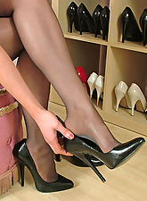This horny blonde loves to tease the camera with her high heels